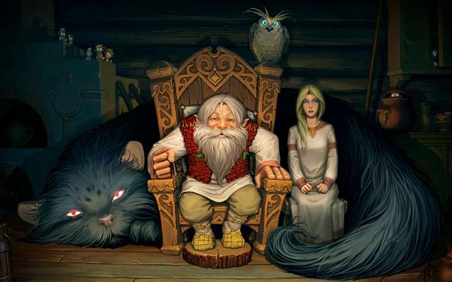 С Новым Годом и Рождеством!(с) рисунок 'Кот Баюн', художник Андрей Лазарев